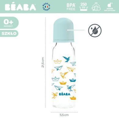 Beaba - Butelka Szklana 250 ml Origami Blue