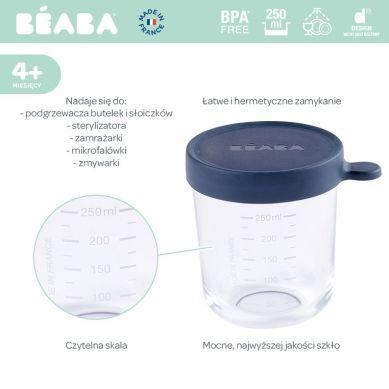 Beaba - Pojemnik Słoiczek Szklany z Hermetycznym Zamknięciem Dark Blue 250ml