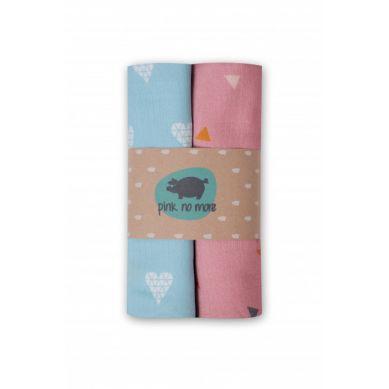 Pink no More - Muślinowo-bambusowe Pieluszki Denim/Trójkąty Róż