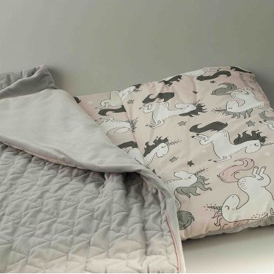 La Millou - Velvet Collection Nap Mat Candy Dark Grey Unicorn Sugar Bebe