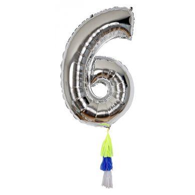 Meri Meri - Balon Cyfra 6 Srebrny