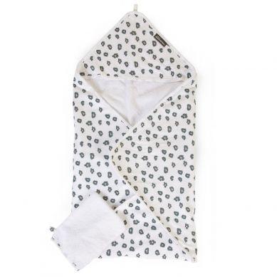 Childhome - Ręcznik z Kapturkiem z Myjką Jersey Leopard