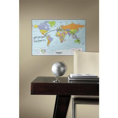 RoomMates - Naklejka Ścienna Wielokrotnego Użytku Mapa Świata - Tablica Suchościeralna