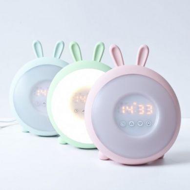 Rabbit&Friends - Lampka/Zegar Budząca Światłem Króliczek Niebieski