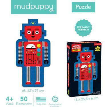 Mudpuppy - Puzzle w Kształcie Postaci Robot 50 Elementów 4+