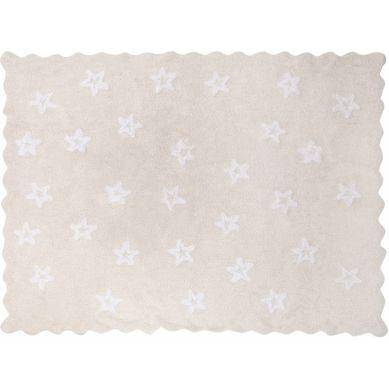 Aratextil - Dywan Bawełniany do Prania w Pralce Herbatnik Beżowy z Białymi Gwiazdami 120x160cm