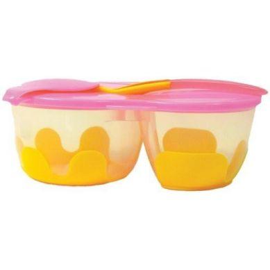 B. Box - Podwójny Pojemnik na Żywność Pomarańczowo Różowy