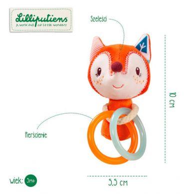 Lilliputiens - Mini Grzechotka z Obręczami Lisiczka Alice 3m+