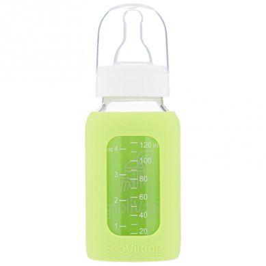 Eco Viking - Antykolkowa Butelka Szklana dla Niemowląt 120 ml Green