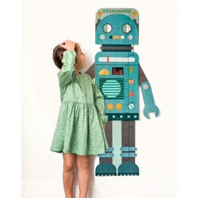 Petit Collage - Miarka Wzrostu Robot Blue