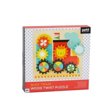 Petit Collage - Drewniane Ruchome Puzzle dla Dziecka Pociąg