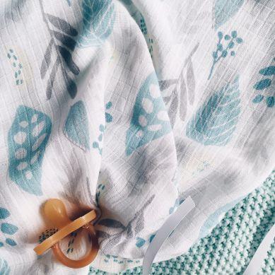 Color Stories - Otulacz Bambusowo-Muślinowy 100x120cm Floral Turkus