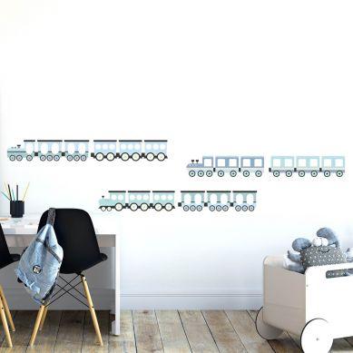 Pastelowelove - Naklejki na Ścianę Pociągi Niebieski
