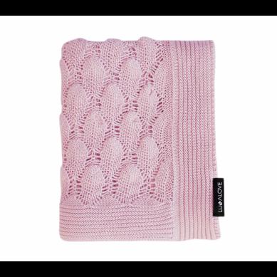 Lullalove - Ażurowy Koc Boho Powder Pink 80x100