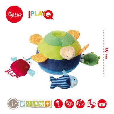 Sigikid - Aktywizująca Miękka Piłka z Wypustkami Morskie Zwierzątka z Grzechotką, Piszczałką i Szeleszczącą Folią 3m+ PlayQ