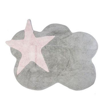 Aratextil - Dywan Bawełniany do Prania w Pralce Szara Chmurka z Różową Gwiazdą 120x160cm