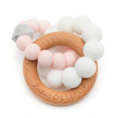 Loulou Lollipop - Gryzak Drewniany z Koralikami Trinity Pink