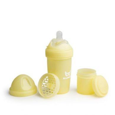Herobility - Butelka Antykolkowa HeroBottle Żółty+Smoczek(2m+) 240ml