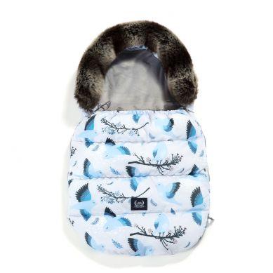 La Millou - Śpiworek Zimowy do Wózka Wodoodporny Aspen Blue Birds & Dark Grey