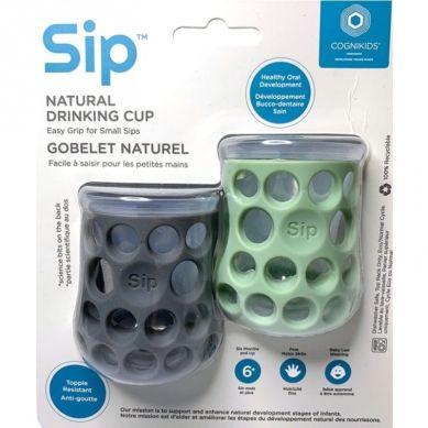 CogniKids - Natural Drinking Cup 2 Sensoryczne Kubeczki do Nauki Picia dla Niemowląt Slate Sage