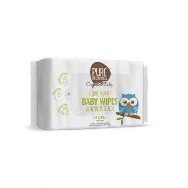 Pure Beginnings Organic Baby - Biodegradowalne Chusteczki Nawilżane Z Organicznym Aloesem 64szt.