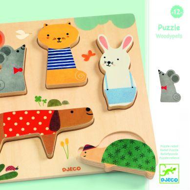 Djeco - Drewniane Puzzle Zwierzątka Domowe