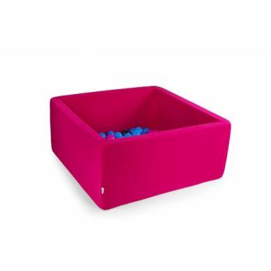 Misioo - Suchy Basen Kwadratowy z 300 Piłeczkami Mocny Róż 90x90x40 cm + 100 Dodatkowych Piłek