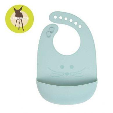 Lassig - Śliniak Silikonowy z Kieszonką Little Chums Mysz Niebieski 6m+