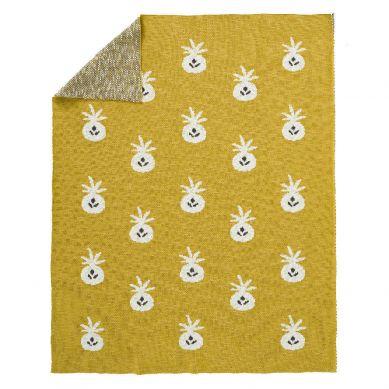 Fresk - Tkany Kocyk z Bawełny Organicznej 80 x 100 cm Ananas Mustard