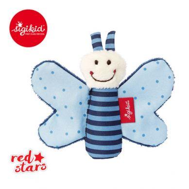 Sigikid - Miękka Mini Przytulanka Niebieski Motylek z Szeleszczącymi Skrzydełkami Red Stars