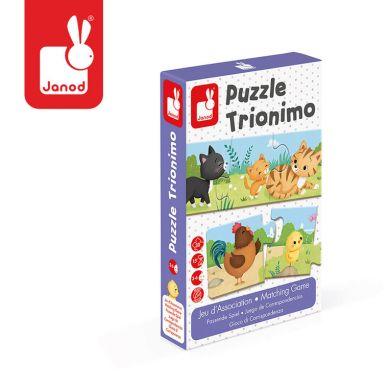 Janod - Trzyczęściowe puzzle Zwierzęta i ich dzieci 30 elementów