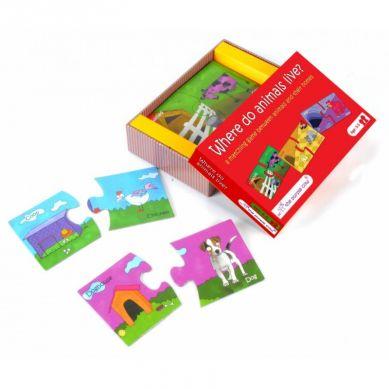 The Purple Cow - Puzzle Duo Gdzie Mieszkają Zwierzęta? 18m+