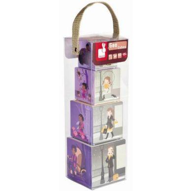 Janod - Geo Cubes - Wieża z Klocków: Chiny, Indie, Francja, Kenia 1+