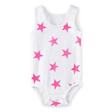 Aden + Anais Body Tank Top Shocking Pink Star