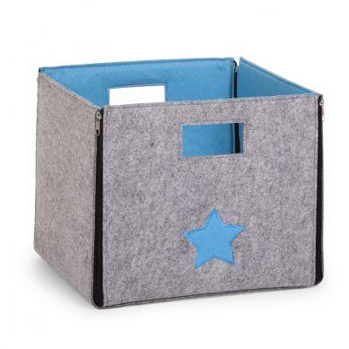 Childhome - Filcowe Pudełko na Zabawki Szare z Turkusem