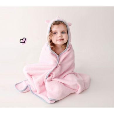 Lullalove - Pastelowy Bambusowy Duży Ręcznik Z Uszkami Różowy