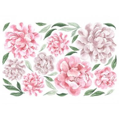Pastelowelove - Naklejka na Ścianę Piwonie Różowe