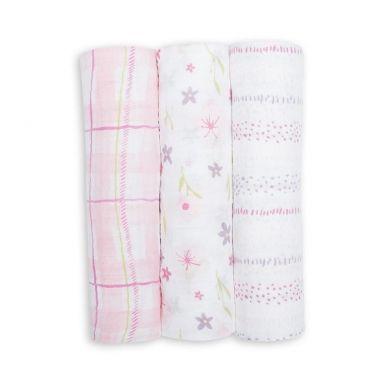 Lulujo - Kocyk Muślinowy Pink Floral 3 szt