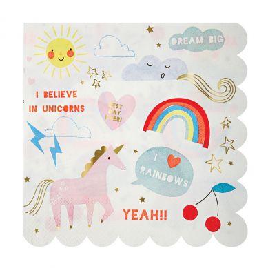 Meri Meri - Serwetki Urodzinowe Rainbow & Unicorn