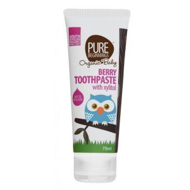 Pure Beginnings Organic Kids - Pasta do Zębów bez Fluoru z Ksylitolem o Smaku Doojrzałych Malin  75ml