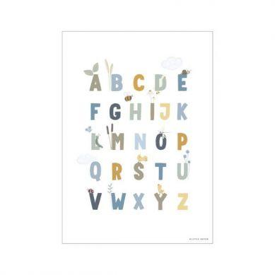 Little Dutch - Plakat A3 Alfabet Gąski Błękit