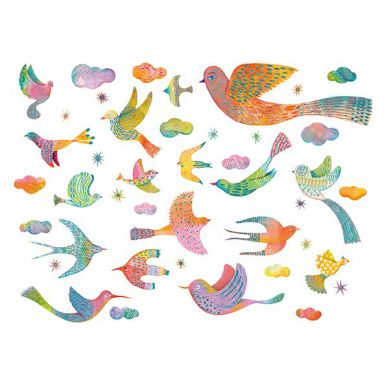 Djeco - Naklejki Dekoracyjne Błyszczące Ptaki