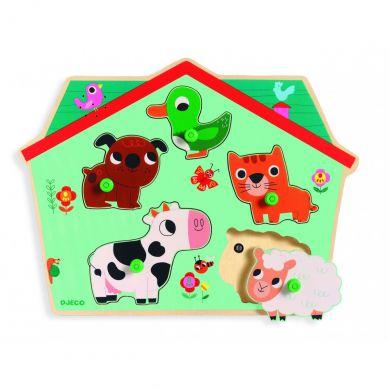 Djeco - Drewniane Puzzle z Dźwiękiem Zwierzątka na Farmie