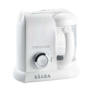 Beaba - Babycook Silver z 6 Słoiczkami i 4 Łyżeczkami Silikonowymi
