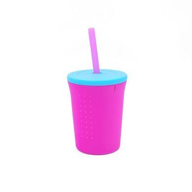 Silikids - Kubek ze Słomką GoSili Pink/Aqua 350ml