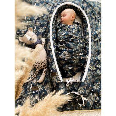 Sleepee - Otulacz Bambusowy Jungle Dark Blue 3 w 1 Chusta, Otulacz i Kocyk