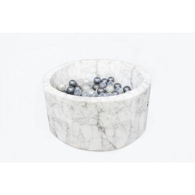 Misioo - Suchy Basen Velvet z 200 Piłeczkami Marmur 90X40 cm + 200 Dodatkowych Piłek