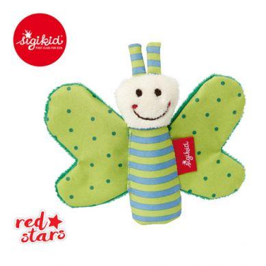 Sigikid - Miękka Mini Przytulanka Zielony Motylek z Szeleszczącymi Skrzydełkami Red Stars
