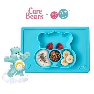 EZPZ - Silikonowy Talerzyk z Podkładką 2w1 Care Bears™ Mat Miśka Share Bear Turkusowy