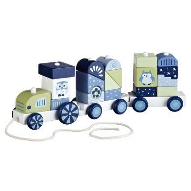 Kids Concept - Pociąg z Klockami Niebieski